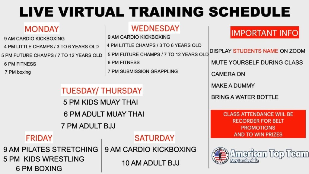 American Top Team Martial Arts LIVE VIRTUAL Schedule 2020 - new